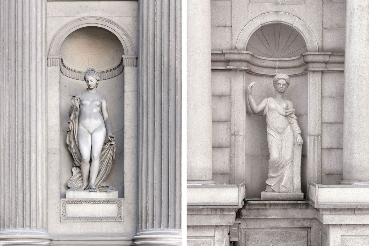 Grecian statues decorate the exterior of a building in Paris (left) and Tianducheng (right).