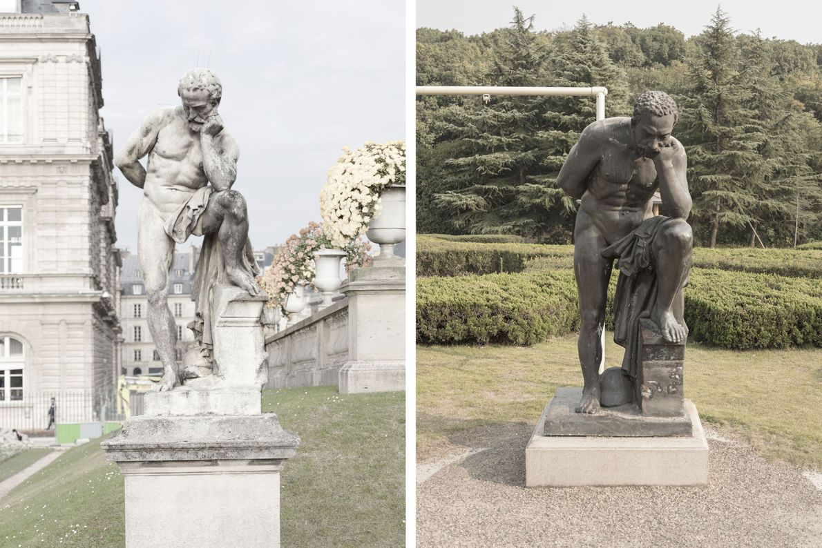 A marble statue in Paris (left) takes on a different look in Tianducheng (right).