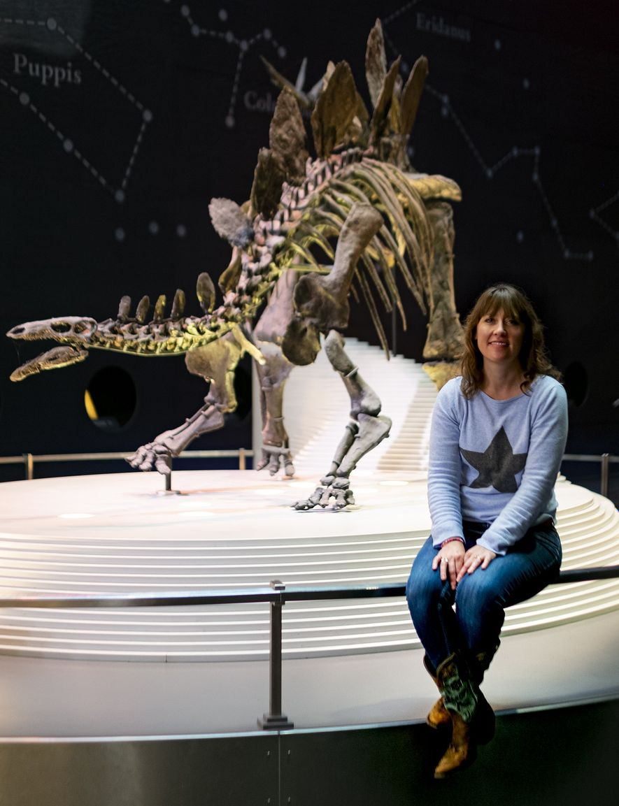 """[When I was six] I didn't know there were different types of scientist, but I really liked dinosaurs. So my grandpa suggested I be a dinosaur scientist."" Susannah Maidment with 'Sophie', a near complete stegosaurus specimen, at London's Natural History Museum."
