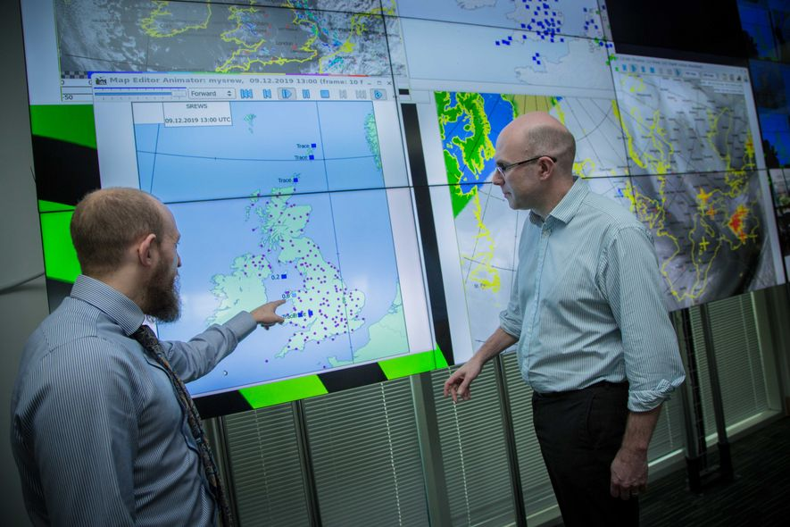 Steve Ramsdale (left) and Will Lang at the Met Office. A rota of meteorological employees work ...