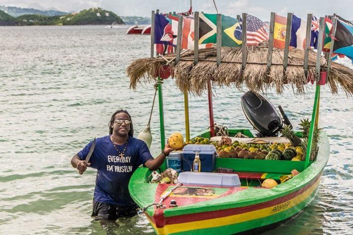 Coconut seller, Pigeon Island.