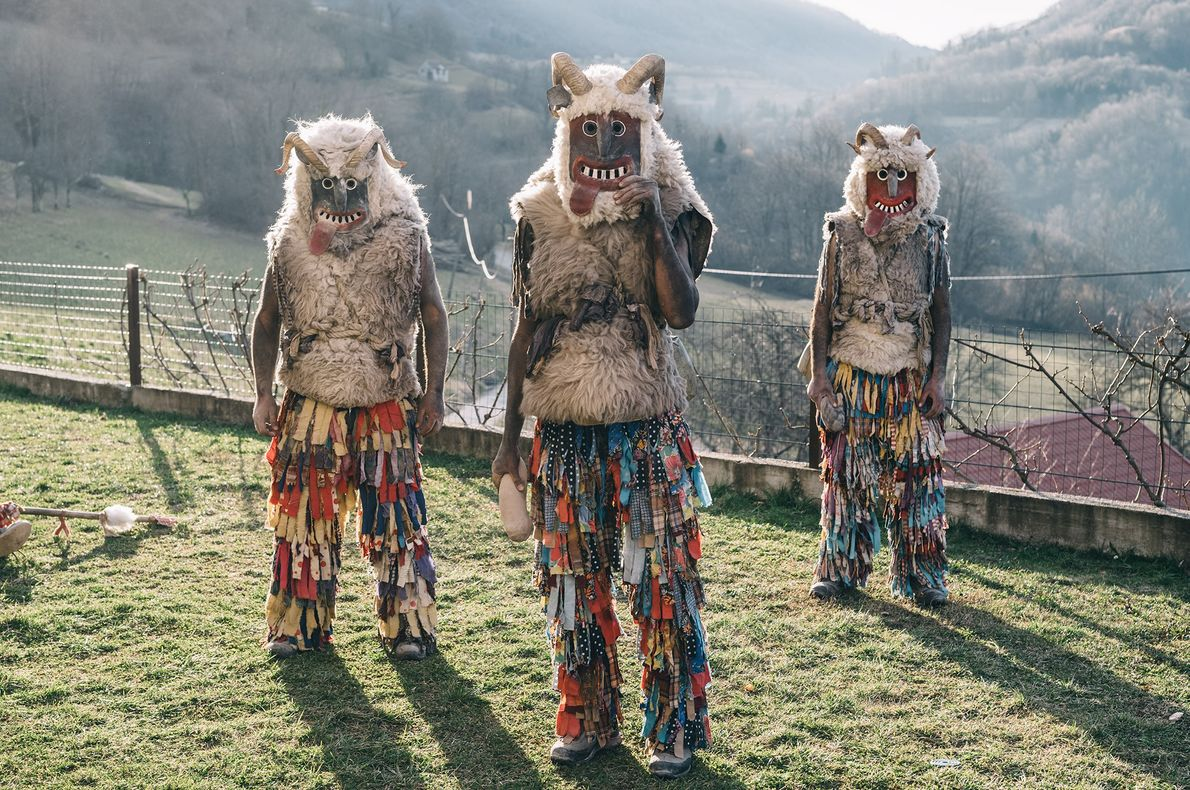 "Locals welcome spring by becoming ""monsters"" during Slovenia's Shrovetide festival, called Pust."