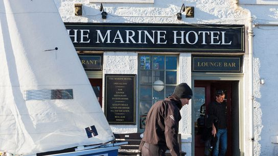 The Marine Hotel offers great views over the harbour, not to mention a menu of pub ...