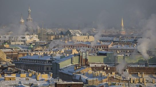 St Petersburg roofscape in winter.