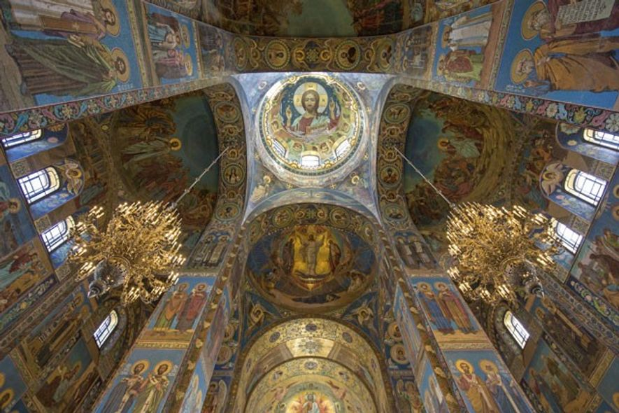 The ornate interior of the Church of the Saviour on Spilled Blood.