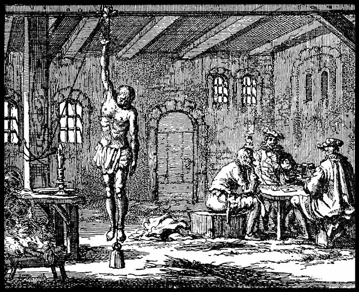 A prisoner being tortured with the strappado in a 17th-century engraving. A leg weight has been ...