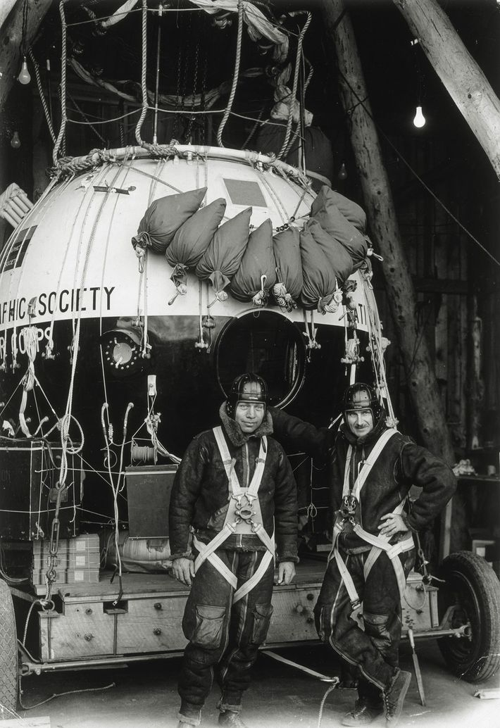 Ballooning pioneers Capts. Orville Anderson and Albert W. Stevens prepare for their record-setting flight above the ...