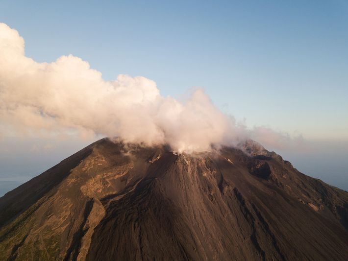 """The Stromboli's jet-like bursts of lava are so distinctive that scientists use the phrase """"strombolian"""" to ..."""
