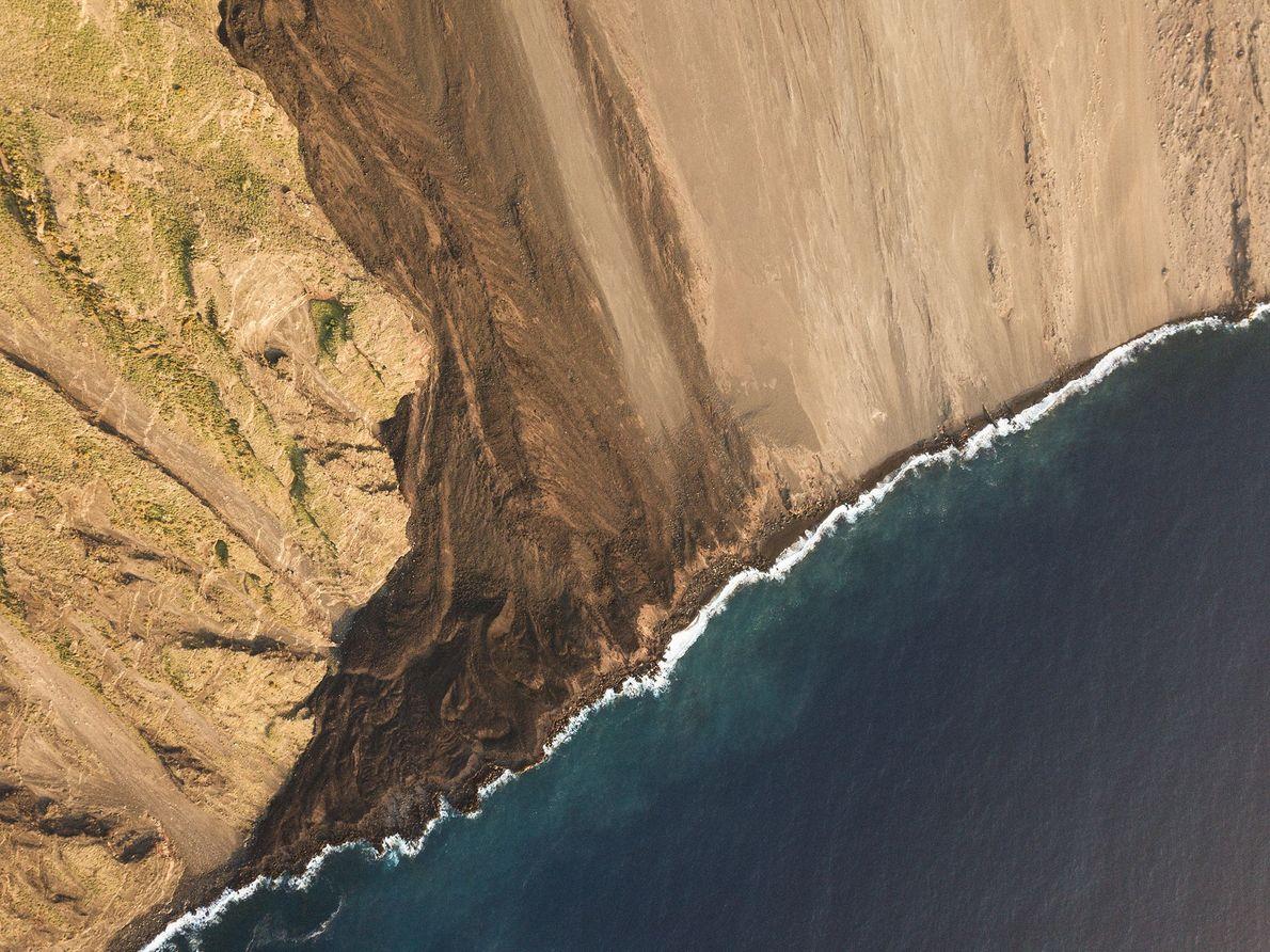 """Sciara del Fuoco, or """"Stream of Fire,"""" funnels lava down Stromboli's northern flank into the sea."""