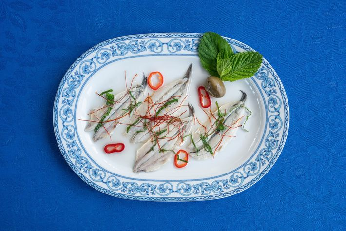 Sample marinated anchovies, one of restaurant Punta Lena'a signature dishes.