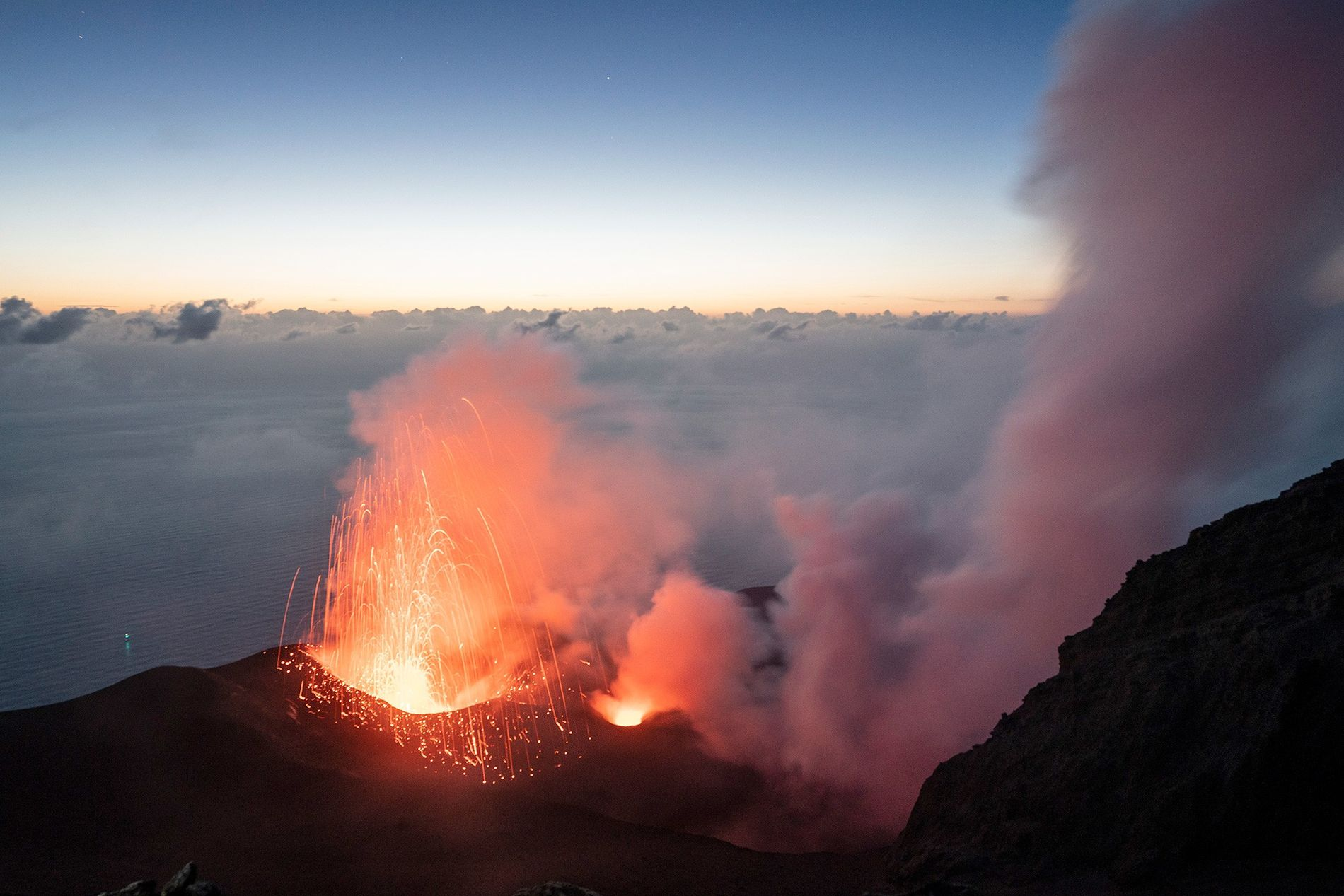 Stromboli's volcano is in a constant state of mild activity, punctuated by occasional larger, more violent ...