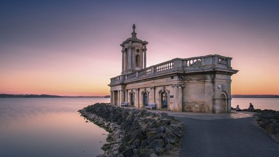 Normanton Church, which avoided demolition in 1970 after public outcry, appears to float in the reservoir. ...