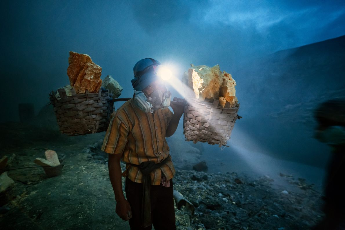 The blocks of sulphur mined from Mount Ijen are processed and used to manufacture a variety ...