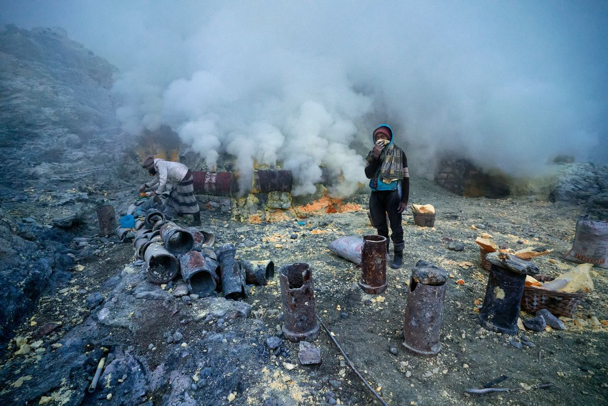 The air at the crater is thick with toxic volcanic gas, and miners often don't use ...