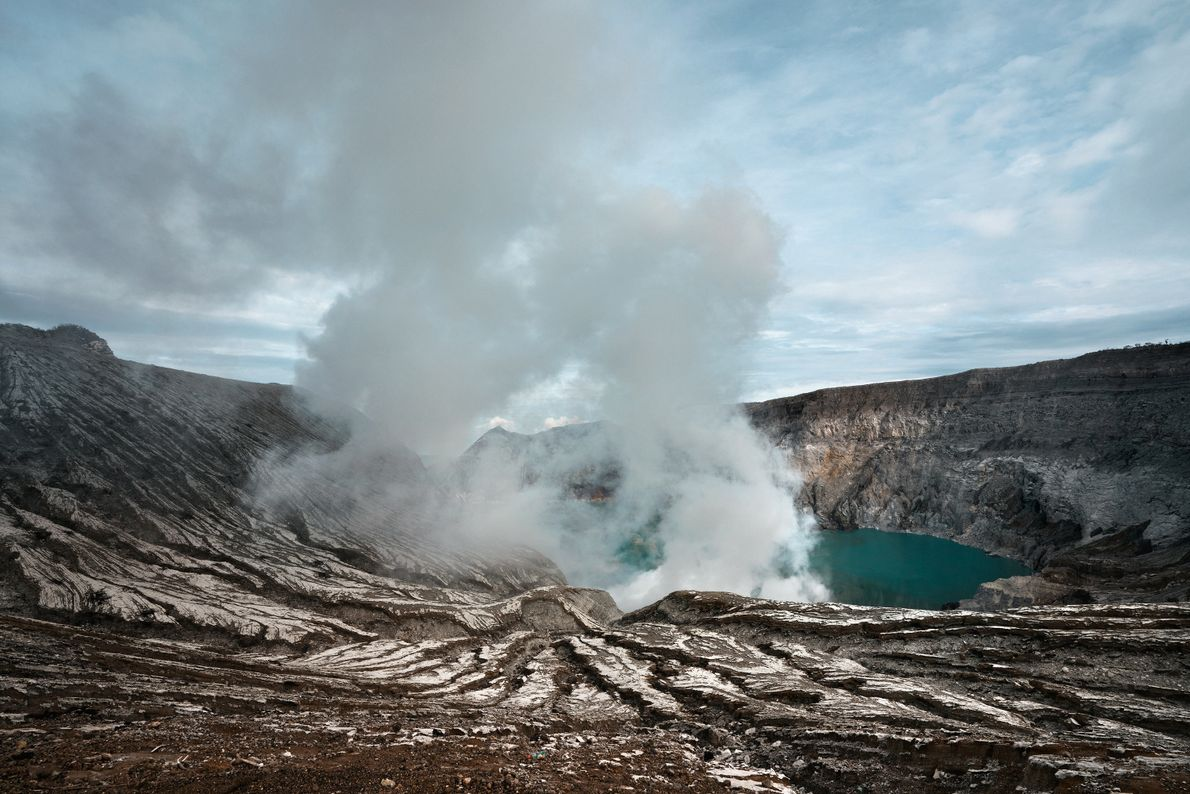 Gas rises from Mount Ijen's acidic crater lake.