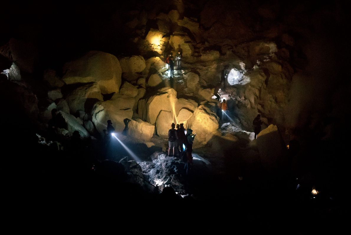 Tourists explore the crater of Mount Ijen, which can see more than a thousand visitors per ...