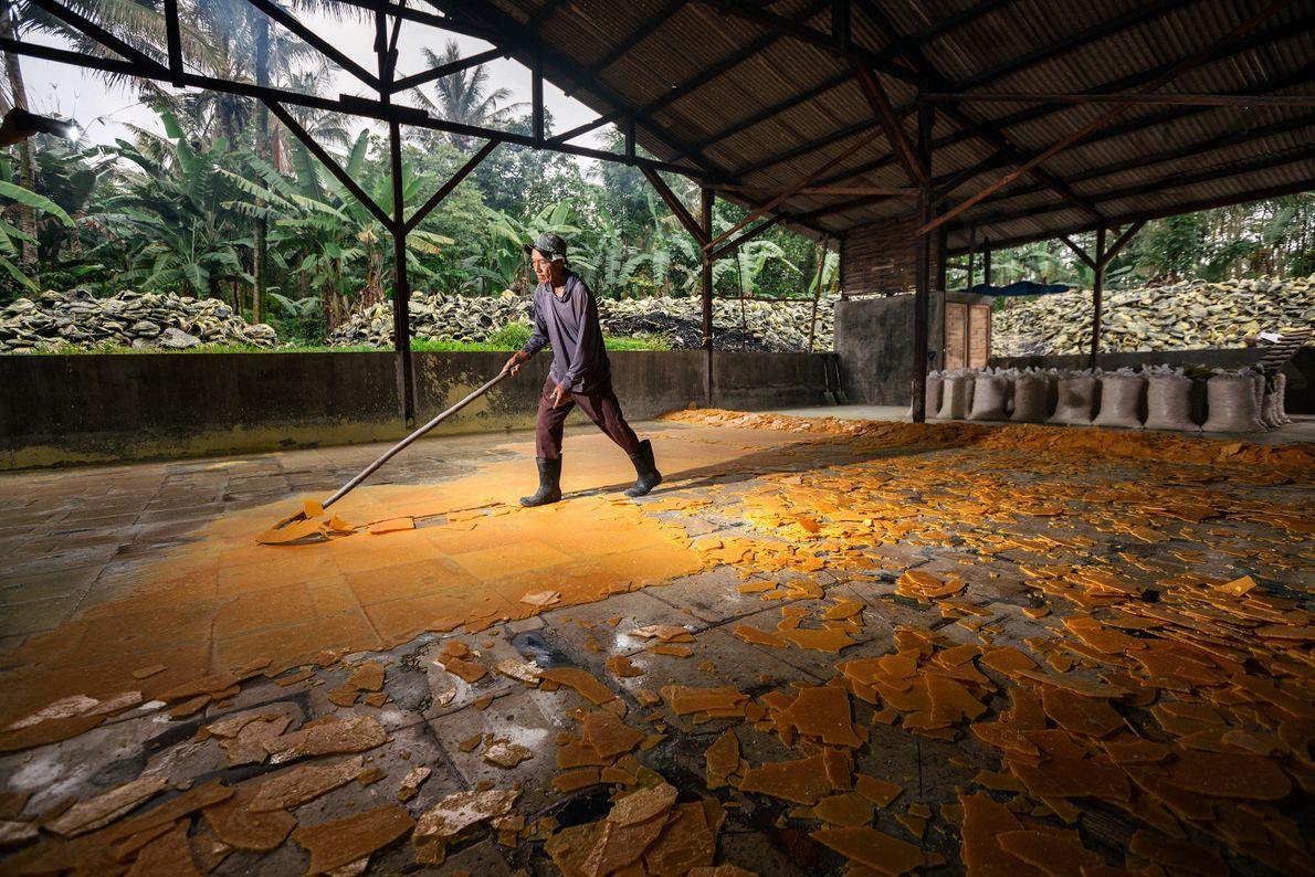 Seventy-year-old Pak Suil processes sulphur in Tamansari Village. The liquid sulphur is spread on the floor ...