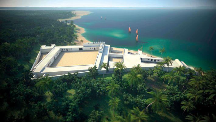 3-D illustrations imagine the splendoe of the Sultan's palace of Kilwa, known as the Husuni Kukwa, ...