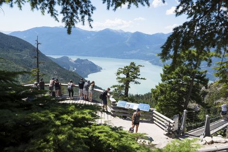 Summit Lodge viewing platform with a view of Howe Sound.