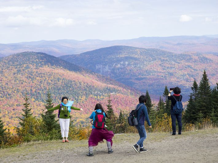 Visitors pose for a photo while on a hike through the Laurentian Mountains.