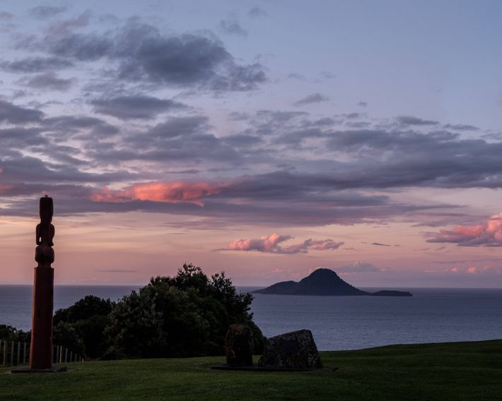 The sun sets in Whakatāne, a town on the east coast of New Zealand's Bay of ...