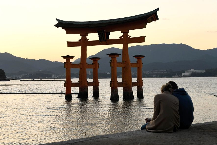 The bright orange Grand Torii Gate is the most well-known structure of Itsukushima Shrine.