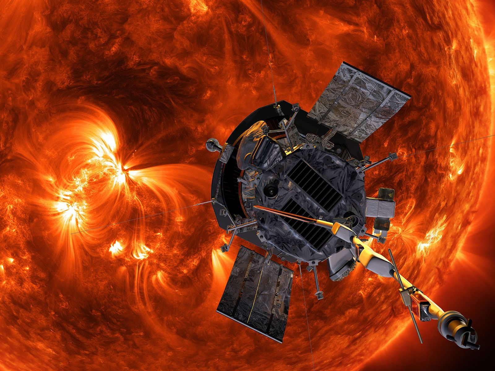 An illustration shows NASA's Parker Solar Probe approaching the sun.
