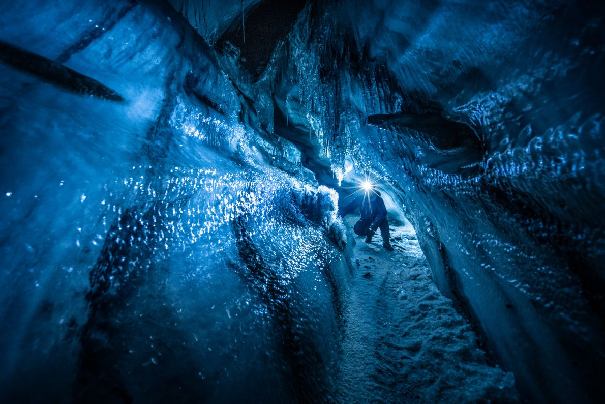 A view inside a glacier near Longyearbyen, Svalbard. The northern archipelago is the wildest and coldest ...