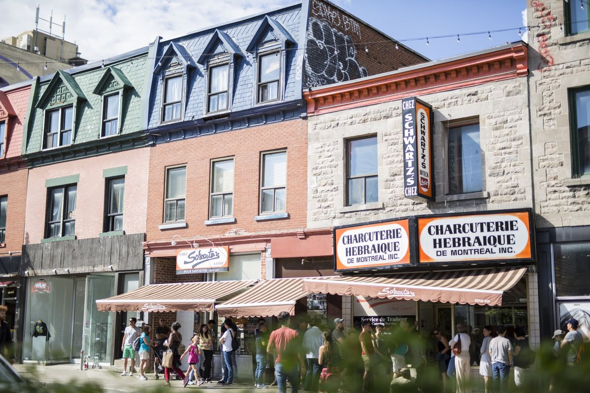 Historic eateries like Schwartzís Deli are located in the Mile End neighborhood of Montreal.