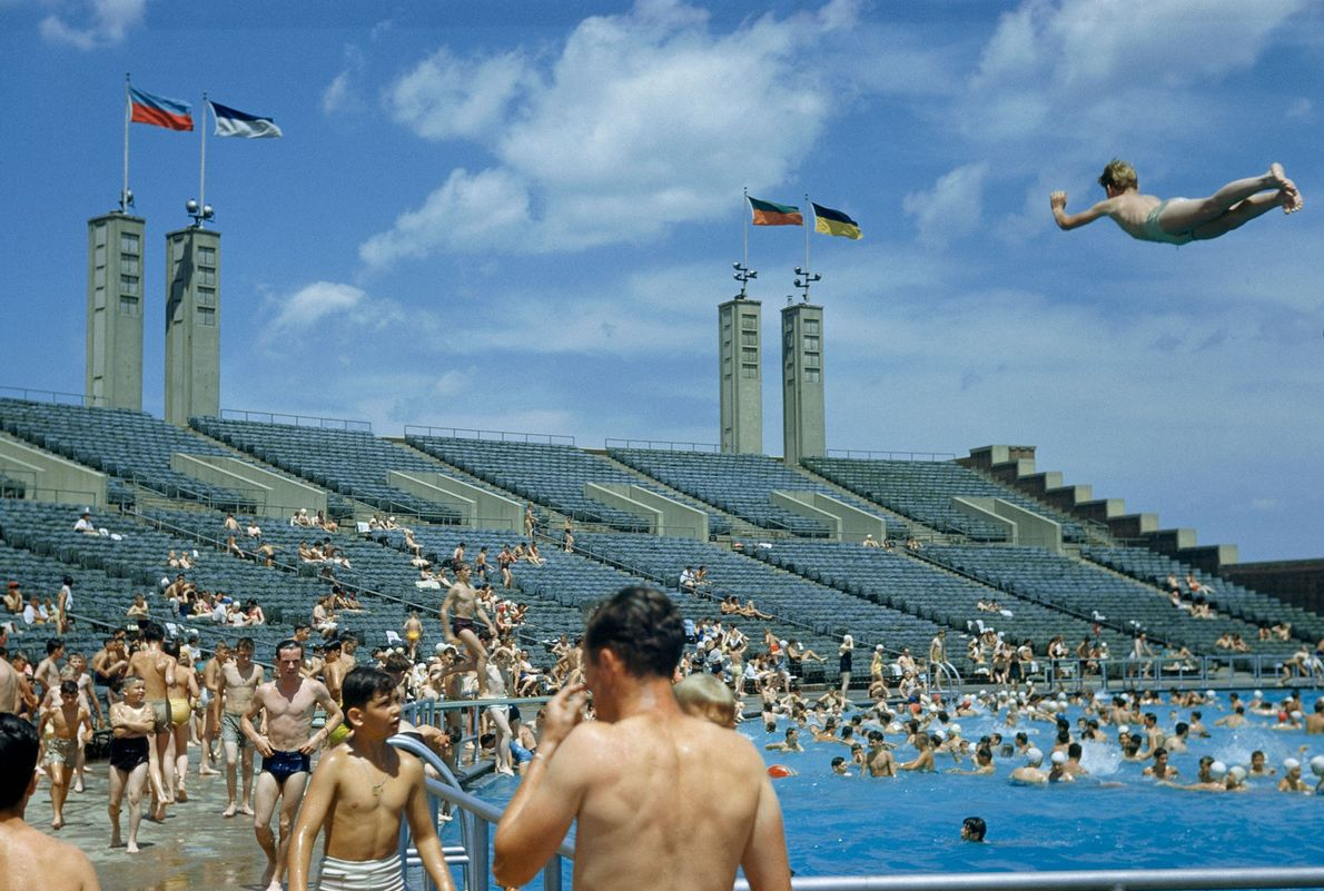 City dwellers swim in the pool at Flushing Meadow Park in Queens, New York City.