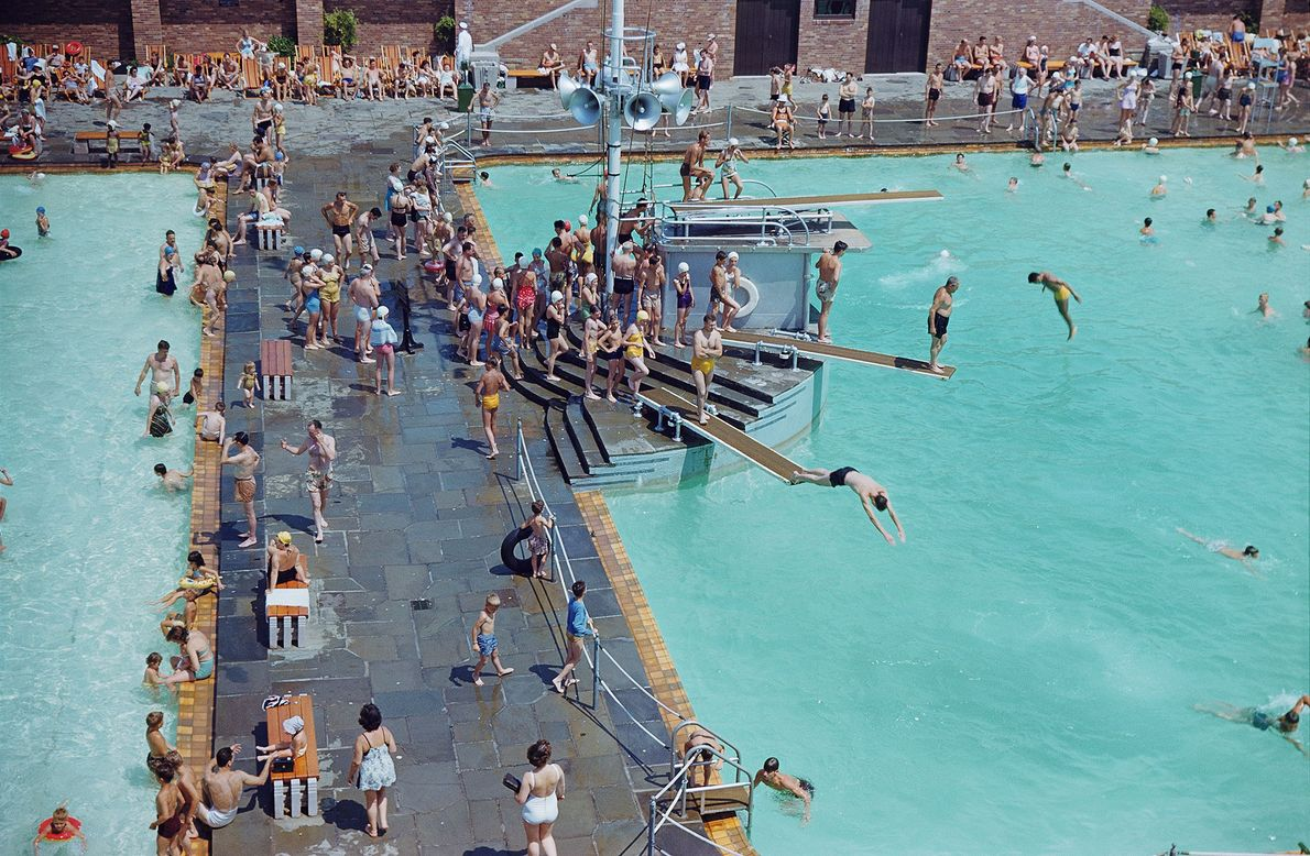 Swimmers enjoy a pool at Jones Beach State Park in New York.