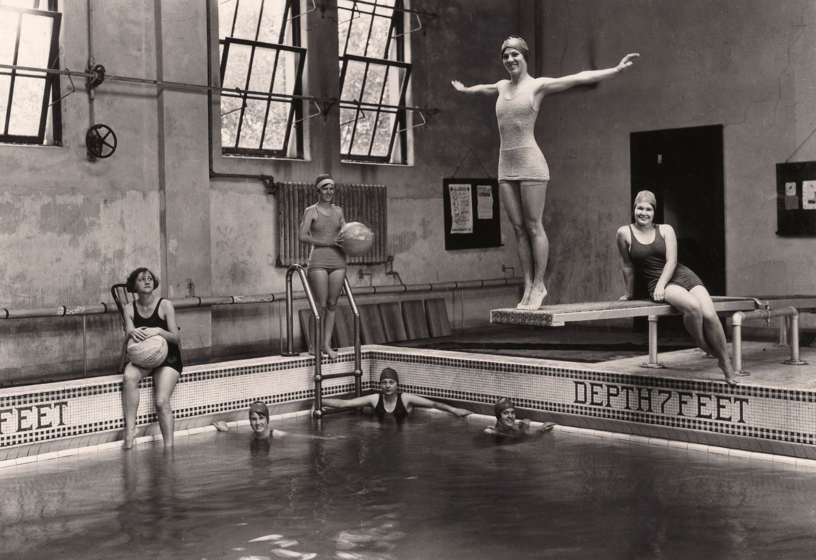 Undergraduate students take swimming lessons at Tulane University in New Orleans, Louisiana.