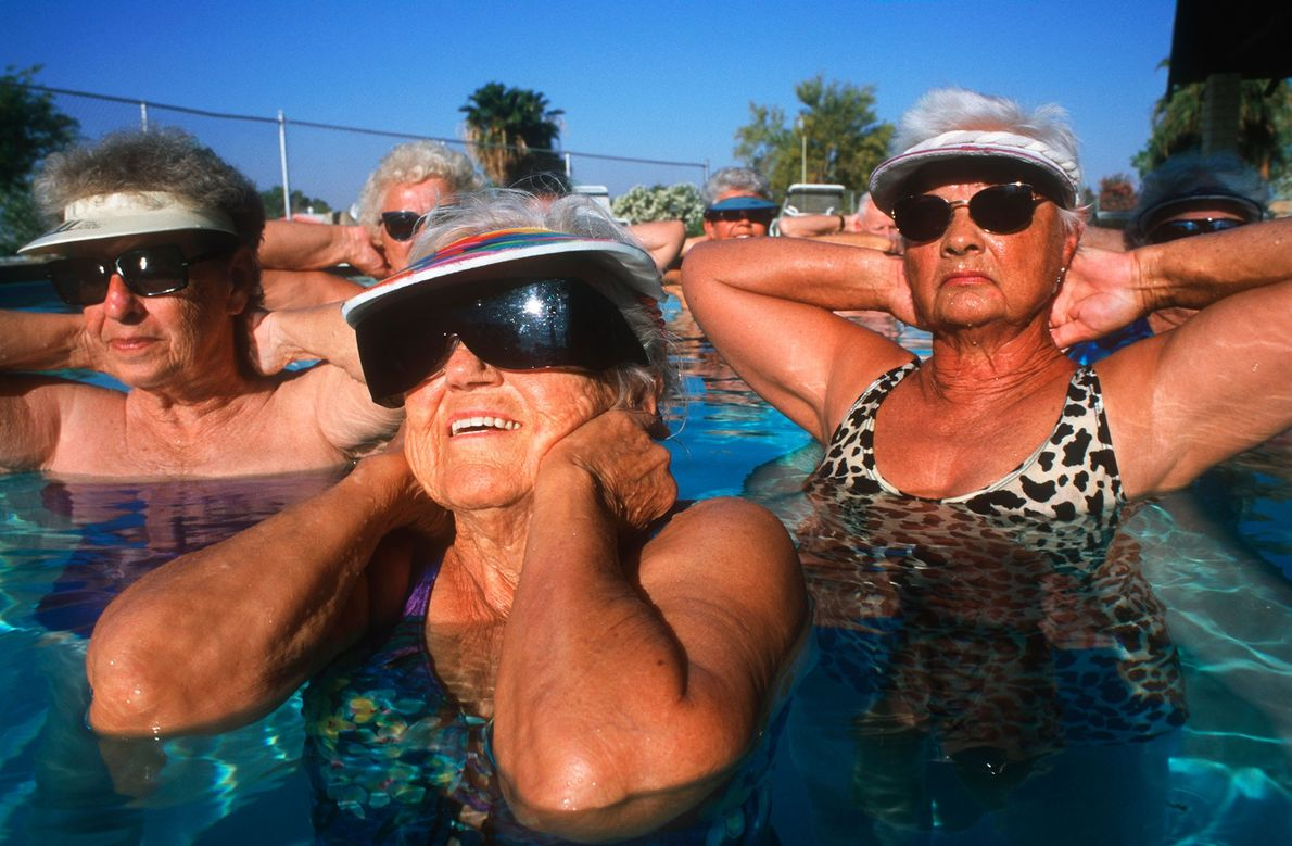 """Salton City's low costs and hot climate attract thousands of retirees or """"snowbirds,"""" like these women, ..."""