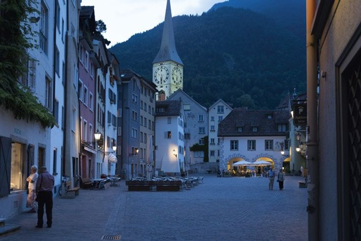 A quiet evening in Arcas Square with St Martin's Church in the background, Chur. Image: Slawek ...