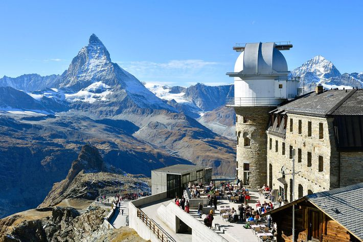 The 3100 Kulmhotel Gornergrat is the Swiss Alps' highest hotel, reached via a 30-minute ride on a ...