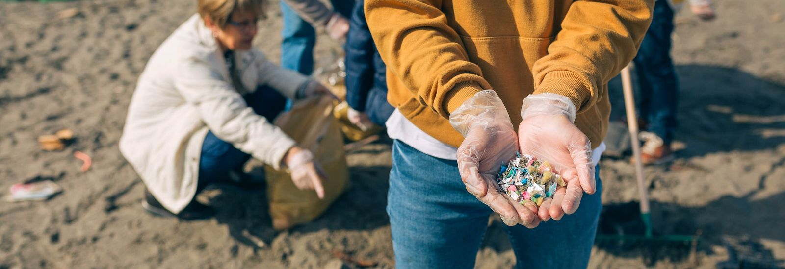 Plastic debris collected by a beach litter pick. Degradation of the plastics can often result in ...