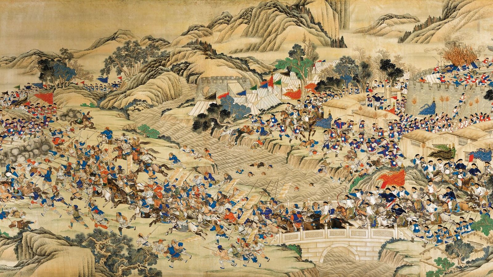 The Taiping rebels can be seen retreating across a bridge pursued by Chinese imperial forces during ...