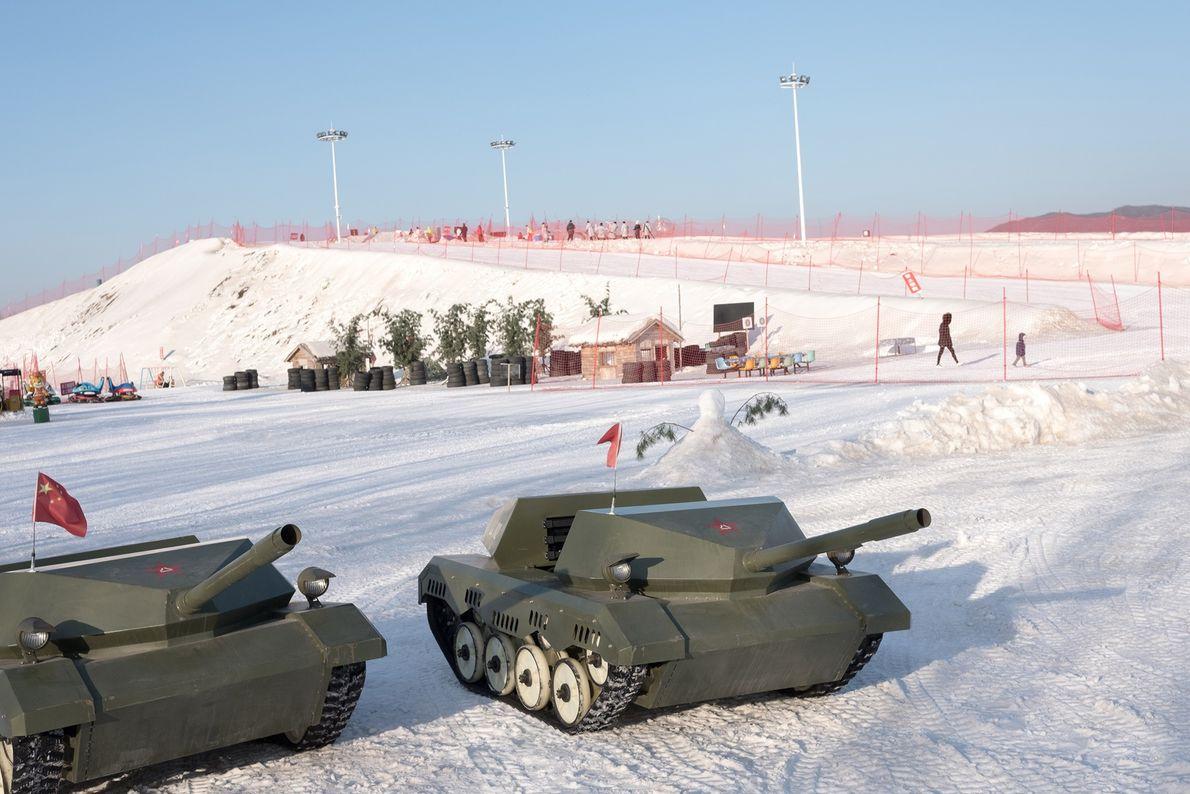 Toy tanks are on display at a ski resort near Dandong, China.