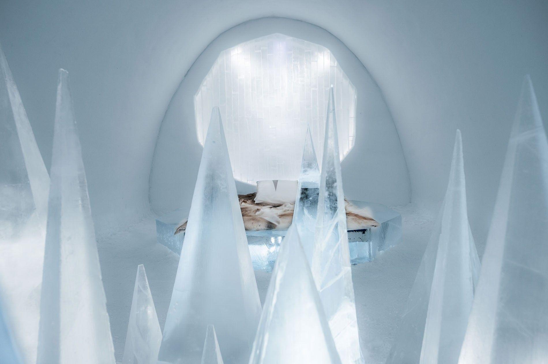 The super-cool art suite at Icehotel in Jukkasjärvi.