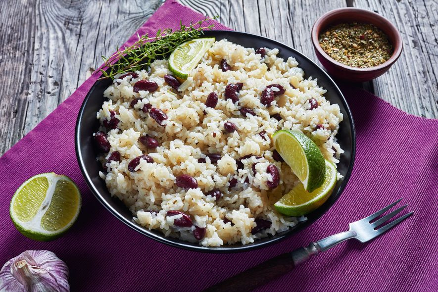 Rice and peas—one of Jamaica's most traditional dishes that's often served alongside jerk pork of chicken.