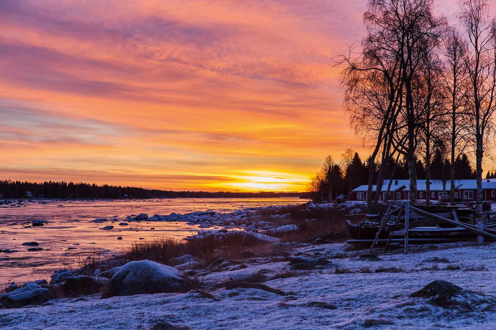 Torne River in Lapland provides epic sunsets.