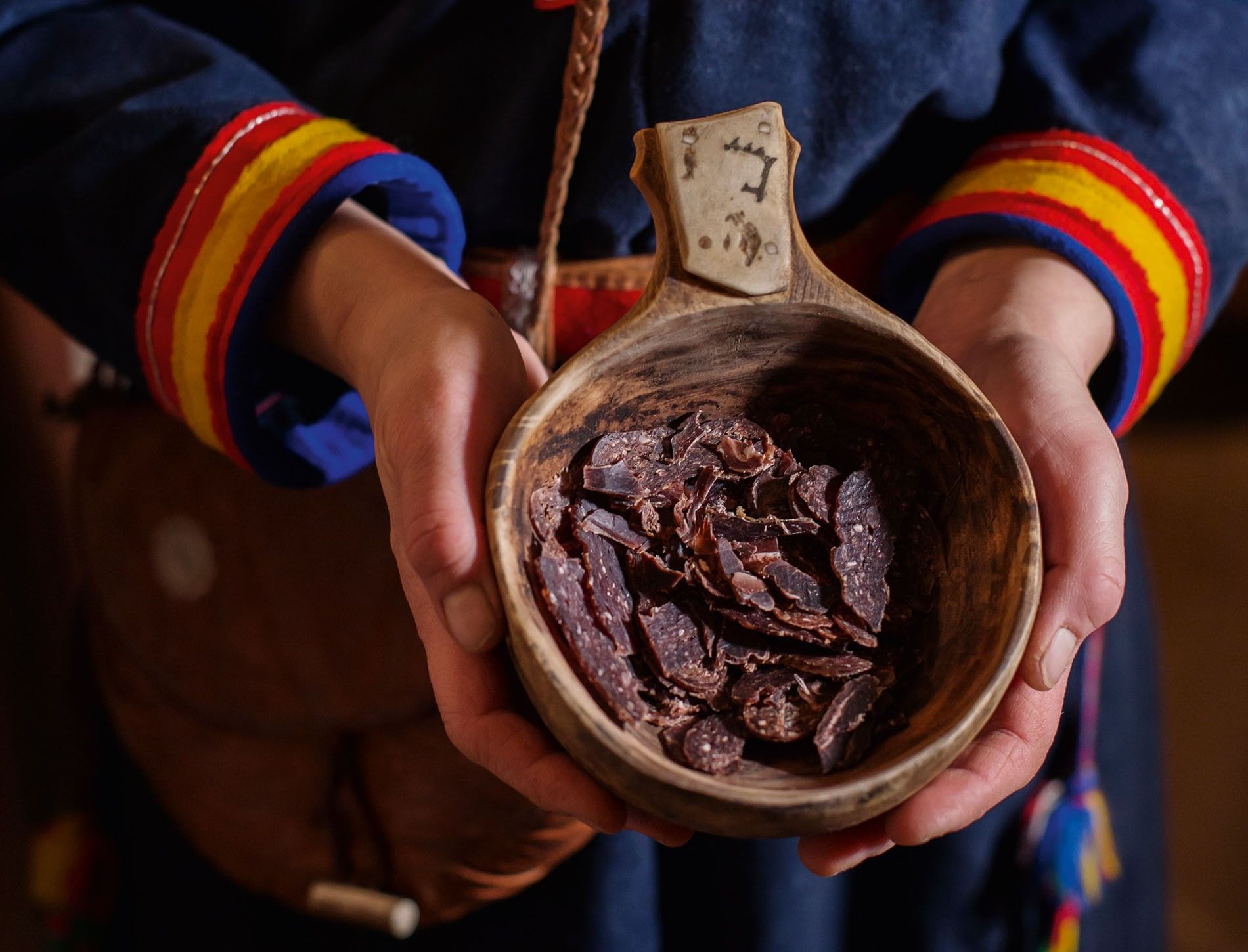 Dried reindeer meat is a traditional snack in Swedish Lapland.