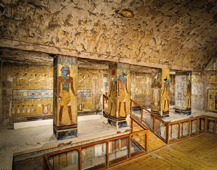 Egyptian rulers lavished funds on the best                    painters for their tombs. The image shows the second                    ...