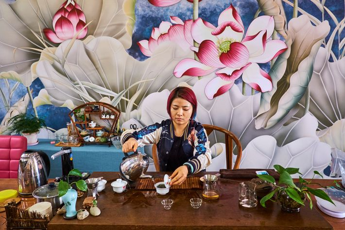 In this Yunnan tea shop, as elsewhere in China, people take their tea straight without adding ...