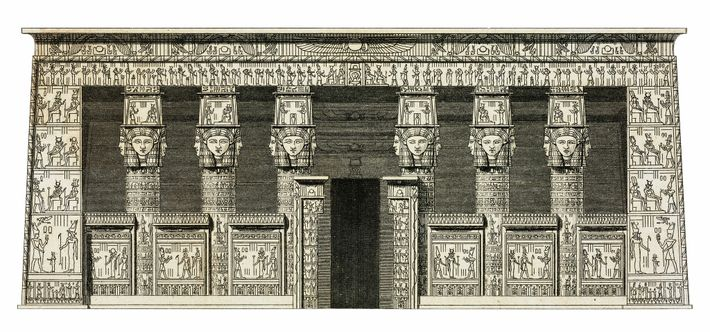 Temple Portico. The complex artwork adorning the Temple of Hathor is captured in an engraving by ...