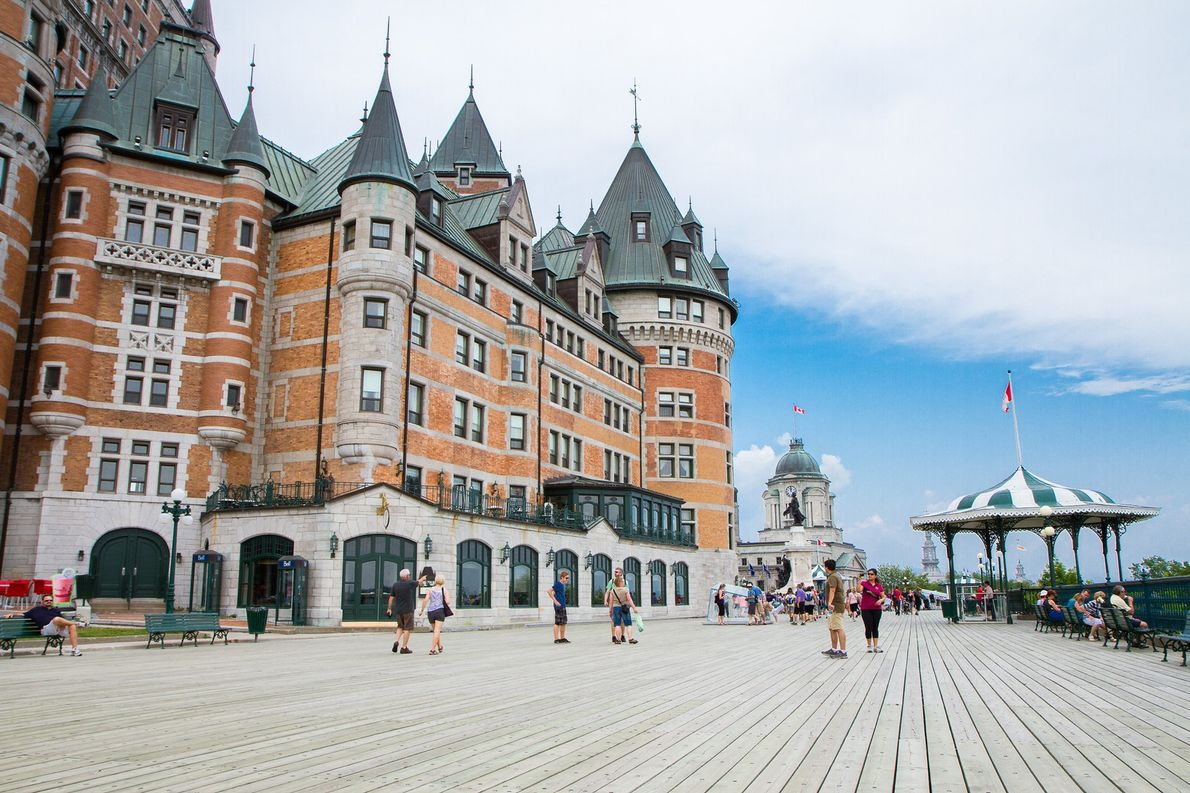 View of Terrasse Dufferin, a pedestrian walkway that wraps around the Chateau Frontenac and overlooks the ...