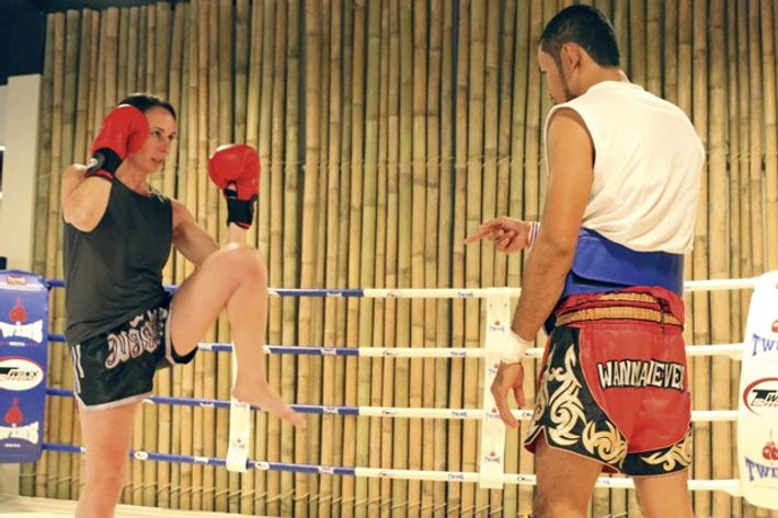 Learning to block kick at Sri Panwa, Phuket.
