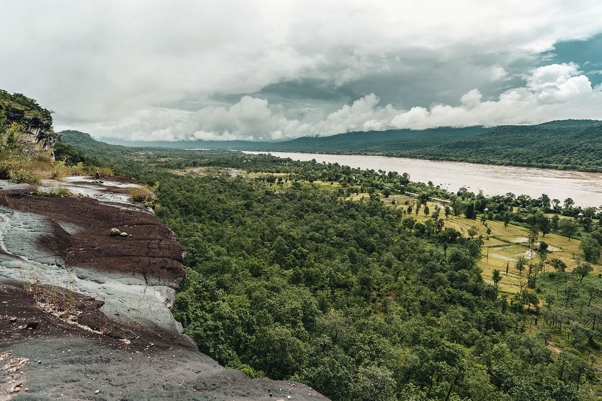 From the top of Chanadai cliff in Pha Taem National Park, the view stretches across the ...