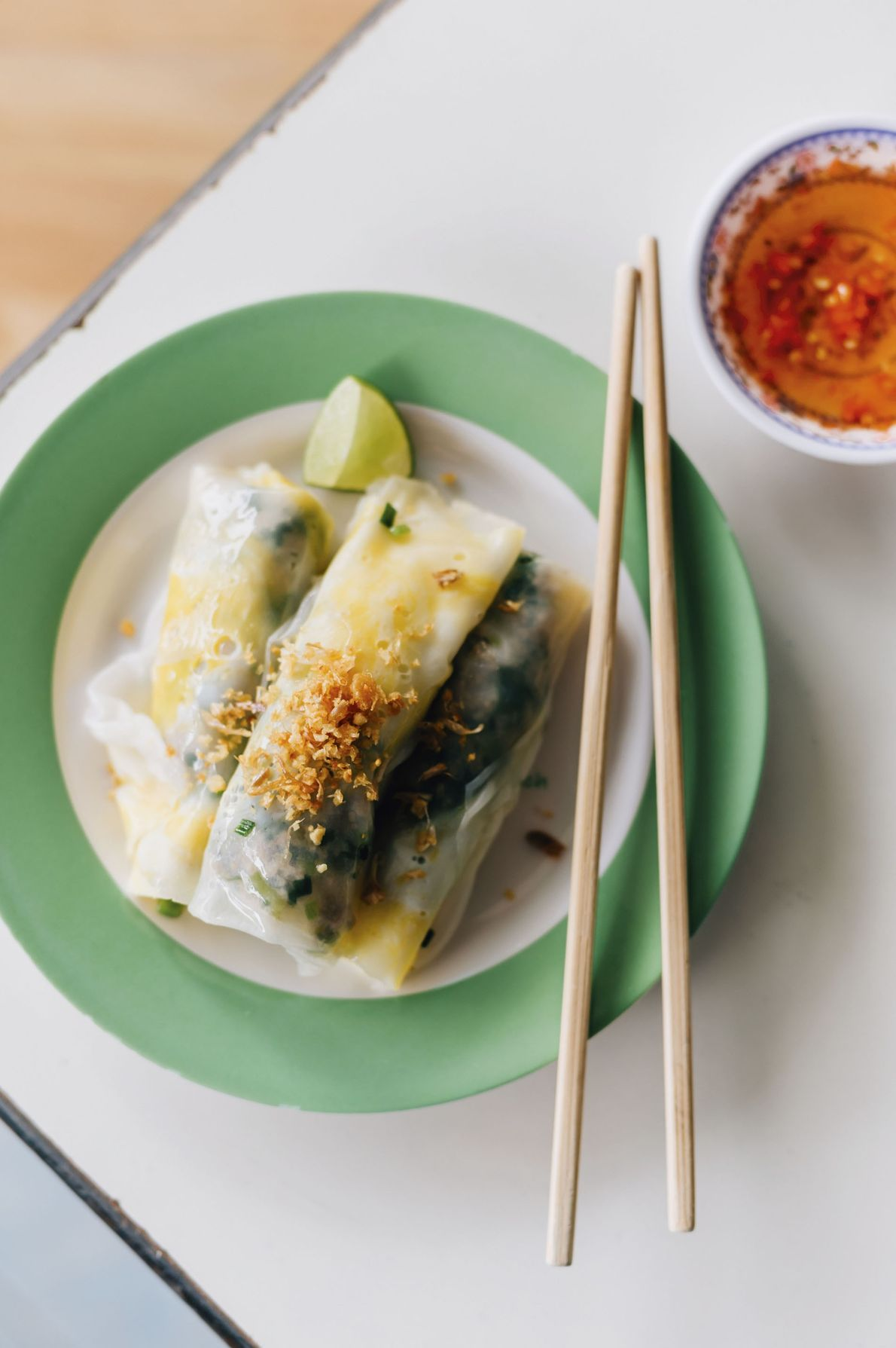 Banh cuon (steamed rice rolls)