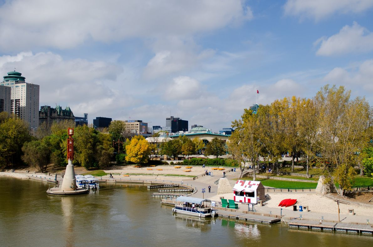 The Forks Historic Port and Riverwalk is a National Historic Site where visitors can rent canoes ...